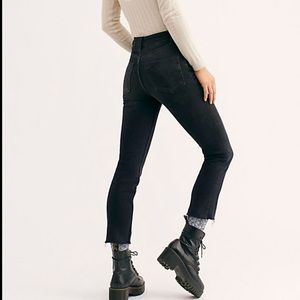 Free People Black Button Fly High Waisted Jeans
